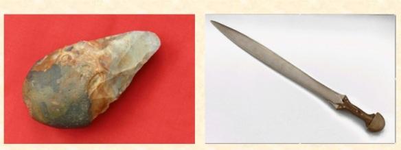 handaxe and sword